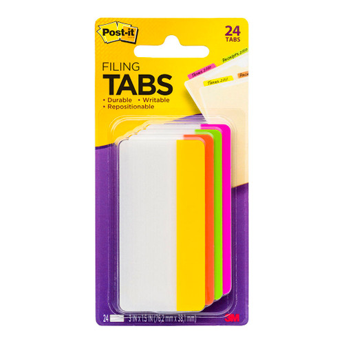 3M Post-It Filing Tab Durable 686-PLOY-3 Pink Lime Orange Yellow Straight 75mm