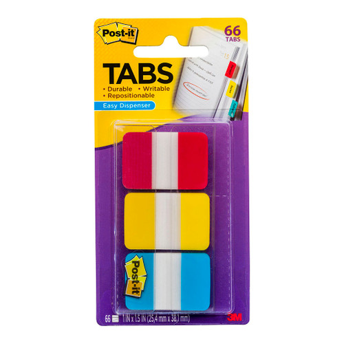 3M Post-It Durable Tabs 686-RYB Blue Red Yellow 25X38mm Pkt/6