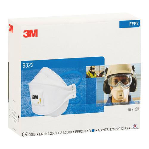 3M AURA 9322A P2 VALVE PARTICULATE RESPIRATOR 10 per box