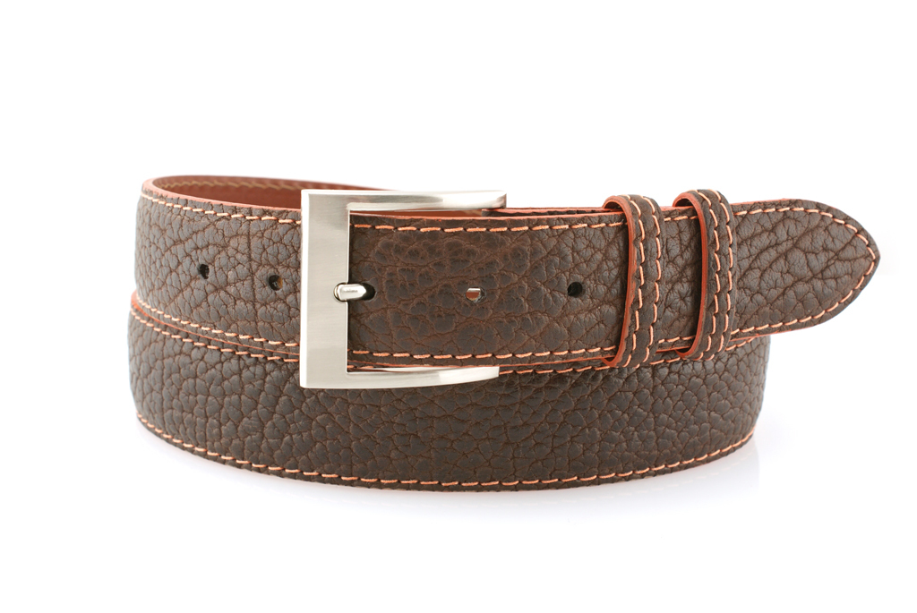 Brown Bison belt shown with Orange contrasting stitch and matching Orange edge