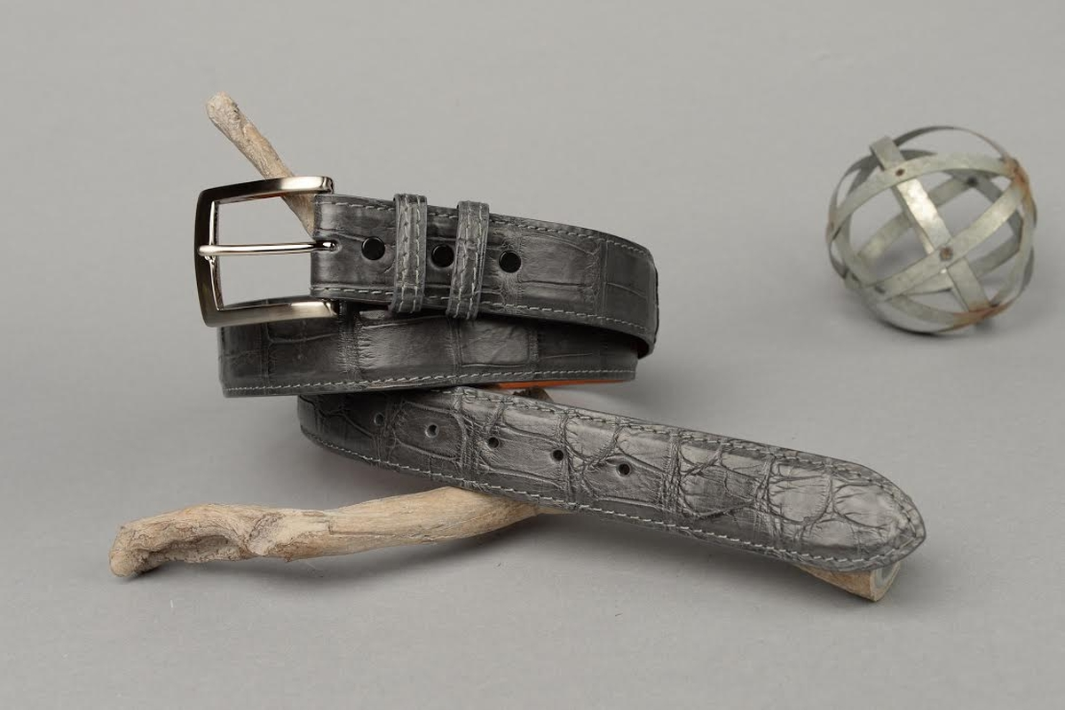 Matte Grey American Alligator Belt with matching Grey Stitch and Edge.