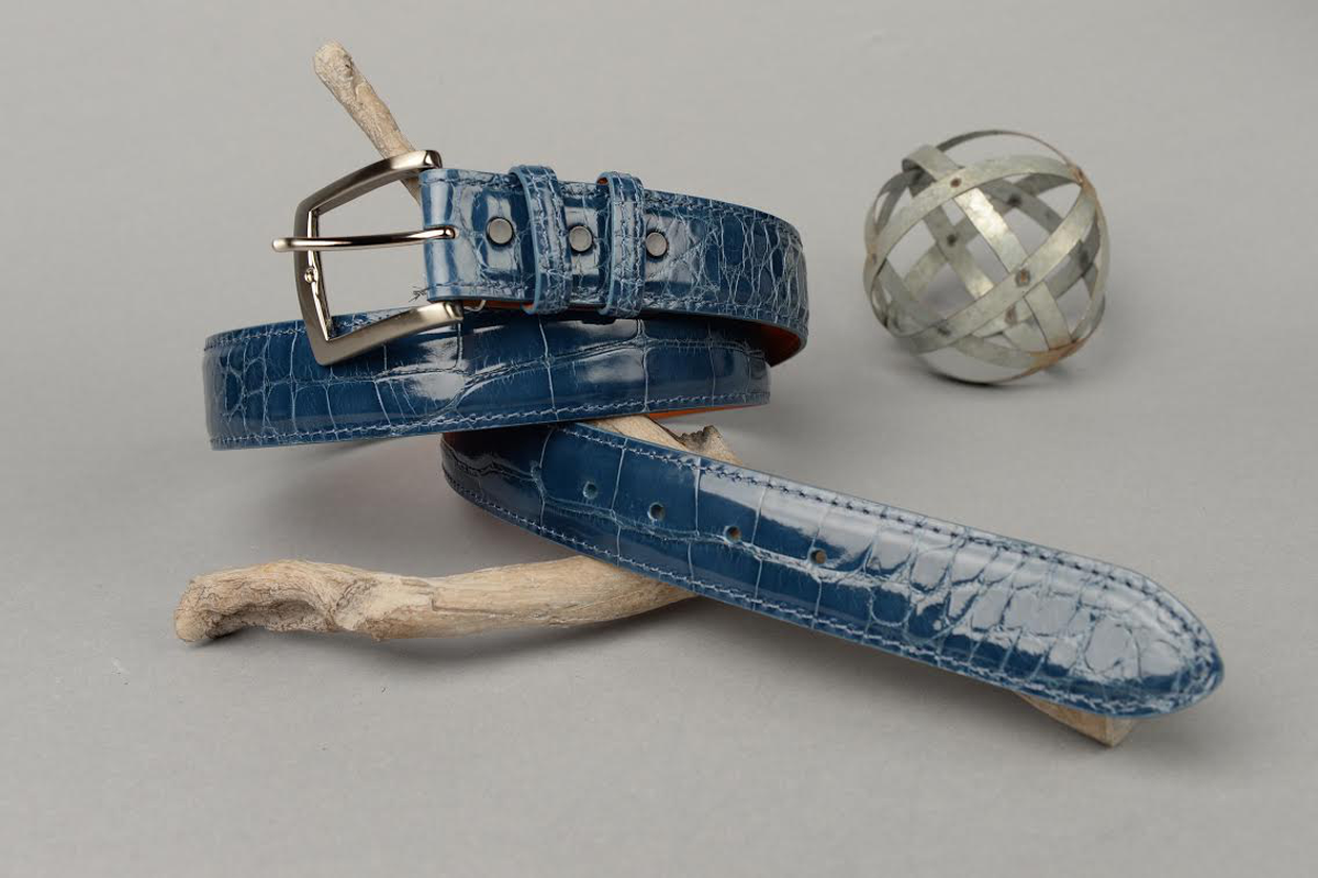 Glazed Denim Blue American Alligator Belt with Matching Edge and Stitch.