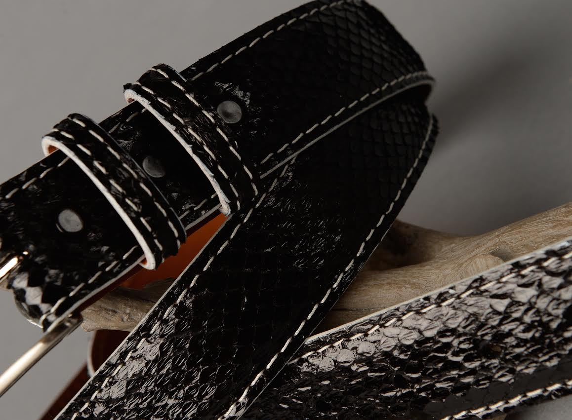 Black Python front cut shown with grey stitch and edge.