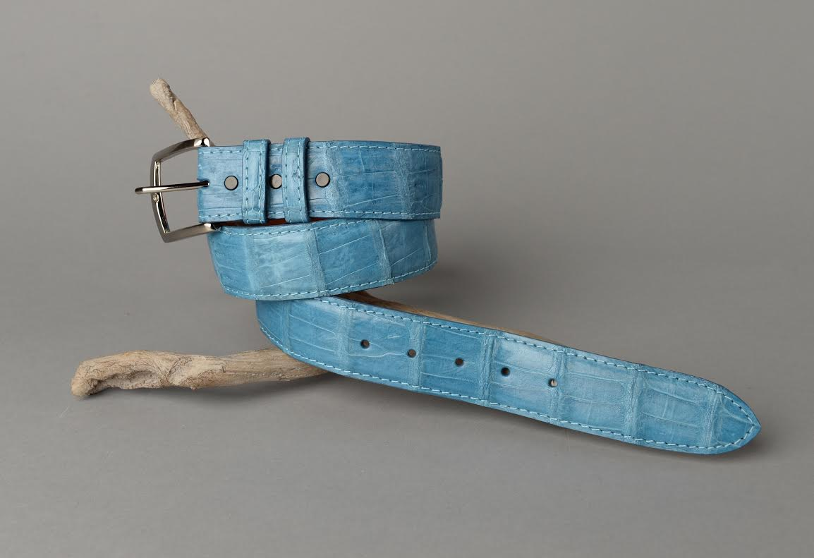Matte Caiman Crocodile Belt - Blue Jean