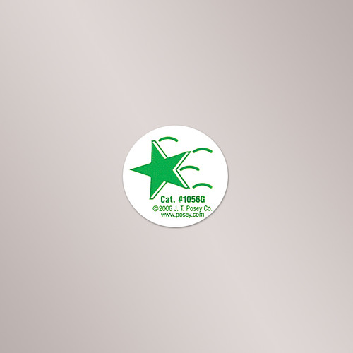 1056G Posey Falling Star Stickers, Green, 1 Roll of 50