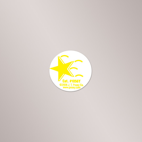 1056Y Posey Falling Star Stickers, Yellow, 1 Roll of 50