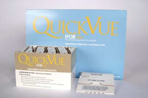 20204 Quidel Corporation QuickVue iFOB 40 Specimen Collection Kit, Includes: 40 Collection Kits Each Containing 1 Collection Tube with 2mL FOB Buffer, 1 Collection Paper with Adhesive, 1 Pouch, 1 Absorbent Sleeve, 1 Return Mail Box & 1 Patient Instru