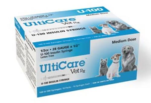 """08250 UltiMed, Inc. U-100 Syringe, 28G x """", 1/2cc, 100/bx Sold as bx"""