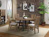 Urban Rustic 4 foot round table with slat back upholstered side chairs. Distressed pine finish on contemporary styling with metal accents