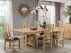 """West End Bungalow 100"""" Solid Oak Table and chairs with leather seats in Stonewashed Oak stain"""