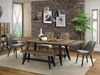 """Urban Rustic 100"""" dining table and slat back chairs with Mid-century upholstered captains chair and 48"""" backless bench"""