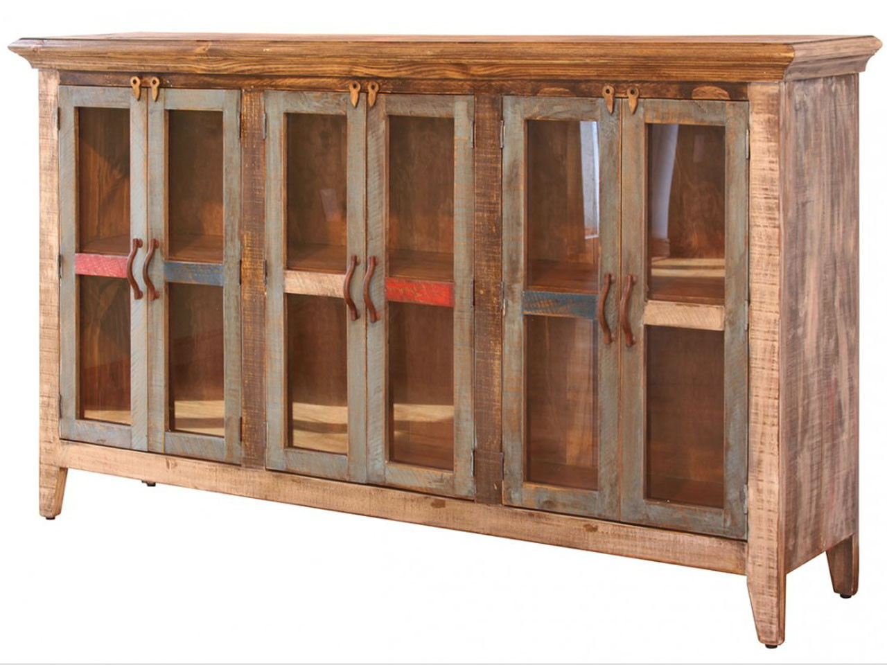 Rustic Multi Colored Console Table With 6 Glass Paneled Doors