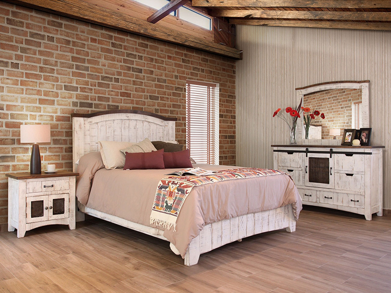 PUEBLO WHITE BED SET - Vintage Oak