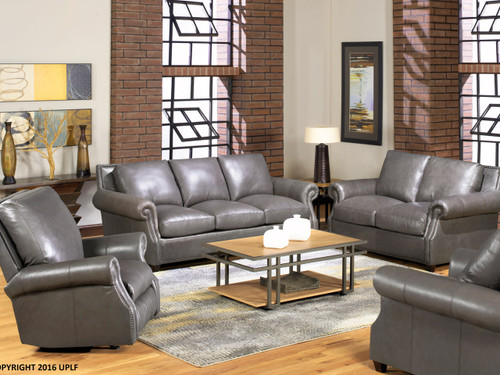 8655 Gray Leather Sofa