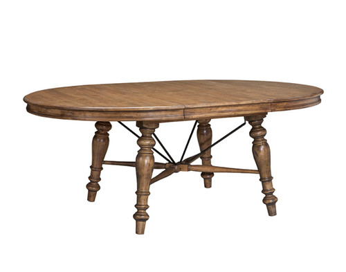 Lake House Oval Dining Table •Turned legs and rustic metal detailing on table bases •Self-storing leaves in all tables Material: Solid Birch.