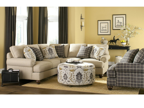 Craftmaster Custom Design C9113 Sectional & Ottoman Can Choose many options like fabric and wood choice.
