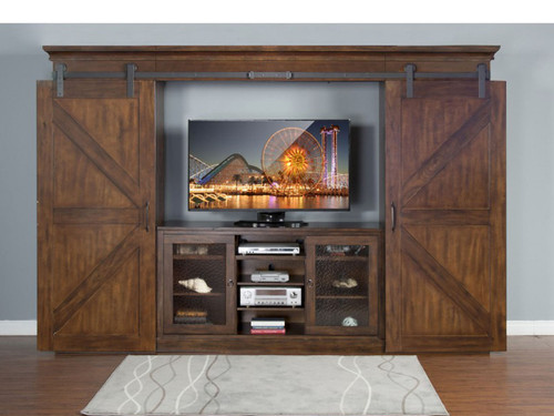 3565DC Barn Door TV Stand with Entertainment Piers and light bridge.