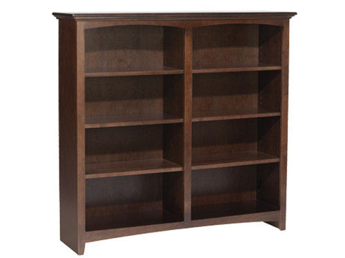 "McKenzie 48"" wide Bookcase  (shown 72"" High Caffe) Available in: 29"", 36"", 48"", 60"" 72"" and 84"" heights. 9 different finishes."
