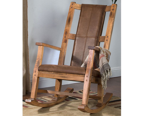Sedona Rocking Chair, Microfiber On Rustic Oak.