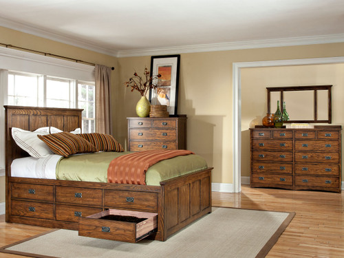 Oak Park Slat Bed Vintage Oak