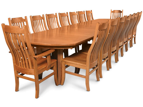 Gathering table expanded to largest dimension shown with Urbandale chair