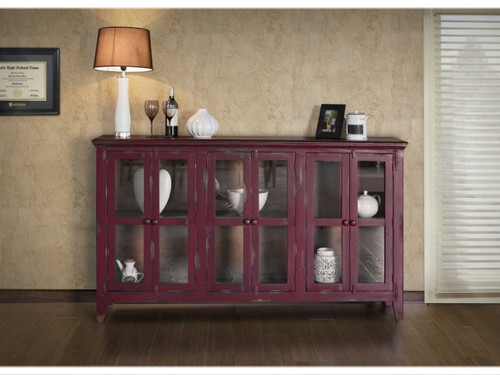 Antique 6 glass panel door console- shown in Red Currant
