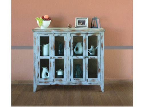 Antique 4 Panel Glass Door Console  Shown In Blue