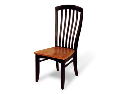 Justine side chair with wood seat. Shown in optional 2-tone