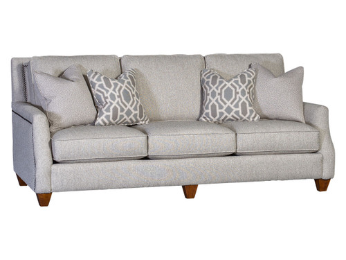 Transitional fabric sofa with nailhead trim, English arm