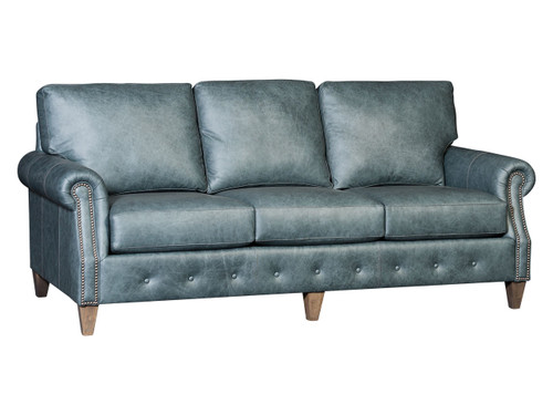Tufted base traditional sofa in leather
