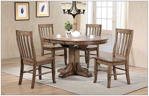 "Carmel 42"" round table and chairs in Rustic Brown. Also available in gray"