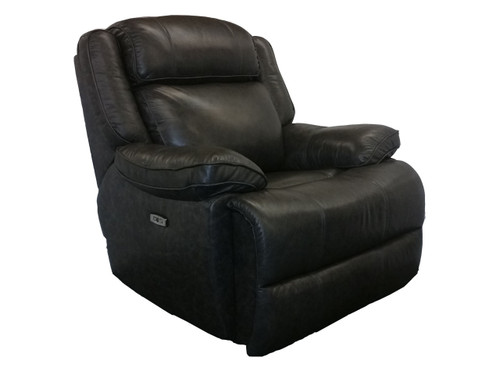 Avalon Power Recliner in Smoke color. Power headrest and power lumbar. Available as sofa, love seat and reclining chair in your choice of 2 colors: latte or smoke Shown in Smoke