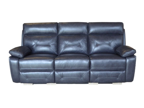 Capri Power Reclining Sofa made of Genuine Leather in Black or Beige (shown in black)