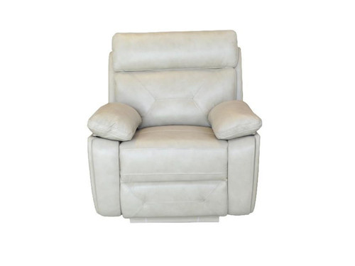 Capri Power Recliner made of Genuine Leather in Black or Beige (shown in Beige)