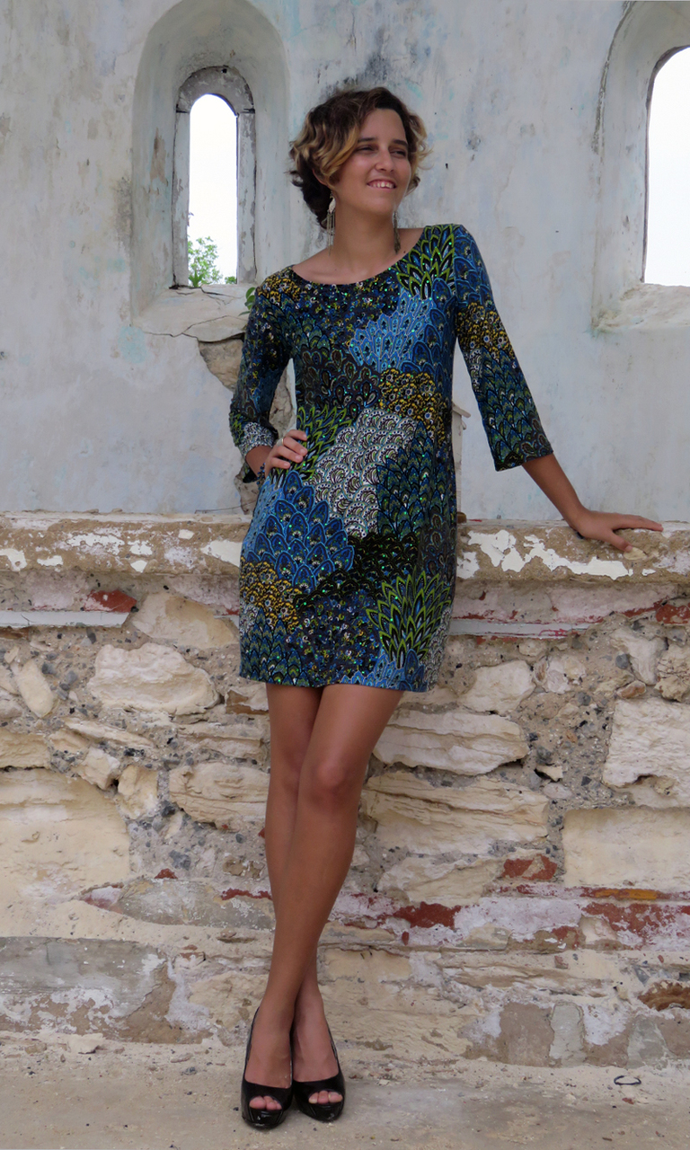 Peacock Sparkle 3/4 Sleeve Dress