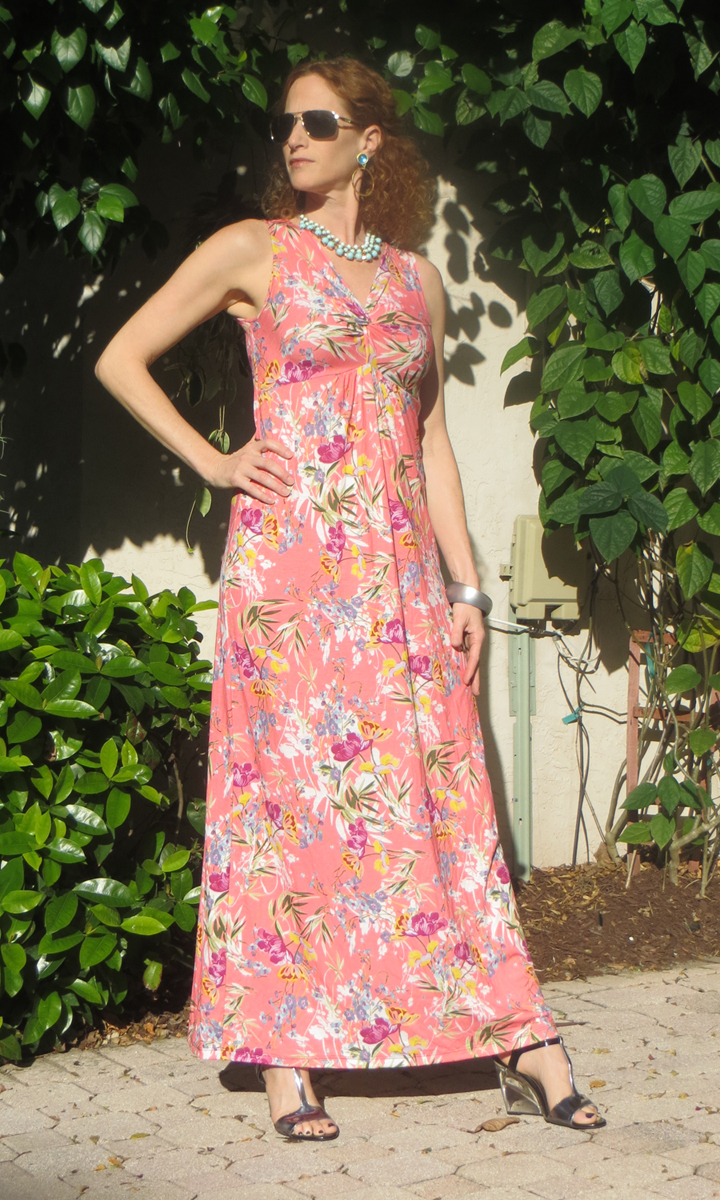 Sweet Coral Long Twist Dress