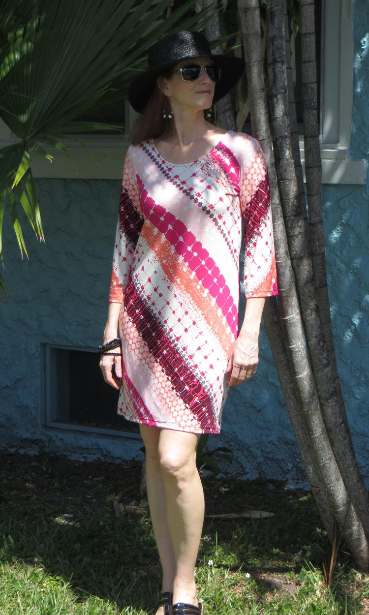 Coral Crosshatch 3/4 Sleeve Dress