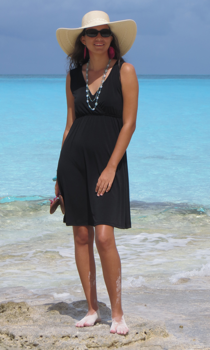 Solid Black Poly Blend Short Wrap Dress