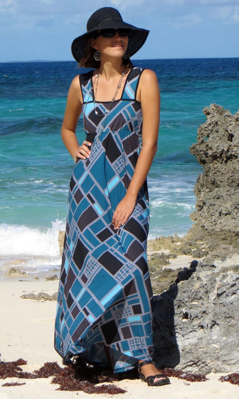 Teal Squared Long Wrap Dress