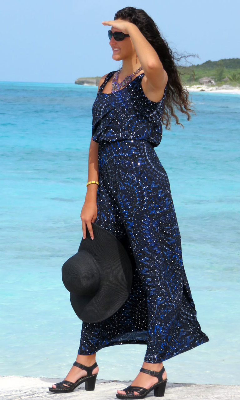 Navy Grecian Sparkle Long Blouson Dress