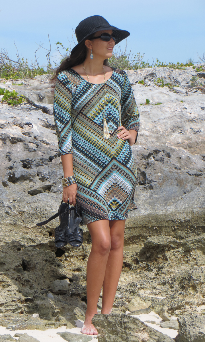 Aztec Quartz 3/4 Sleeve Dress-ONLY SMALL & MEDIUM LEFT!!