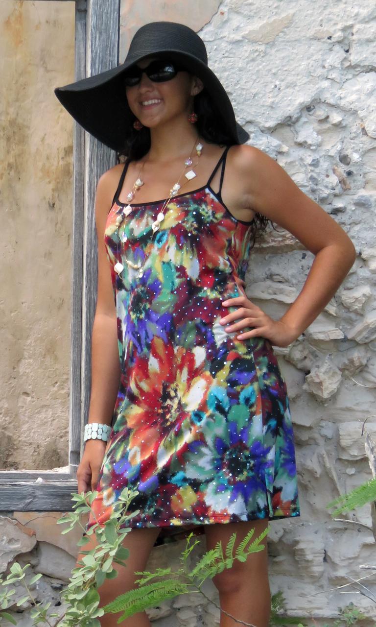 Floral Sparkle Slip Dress