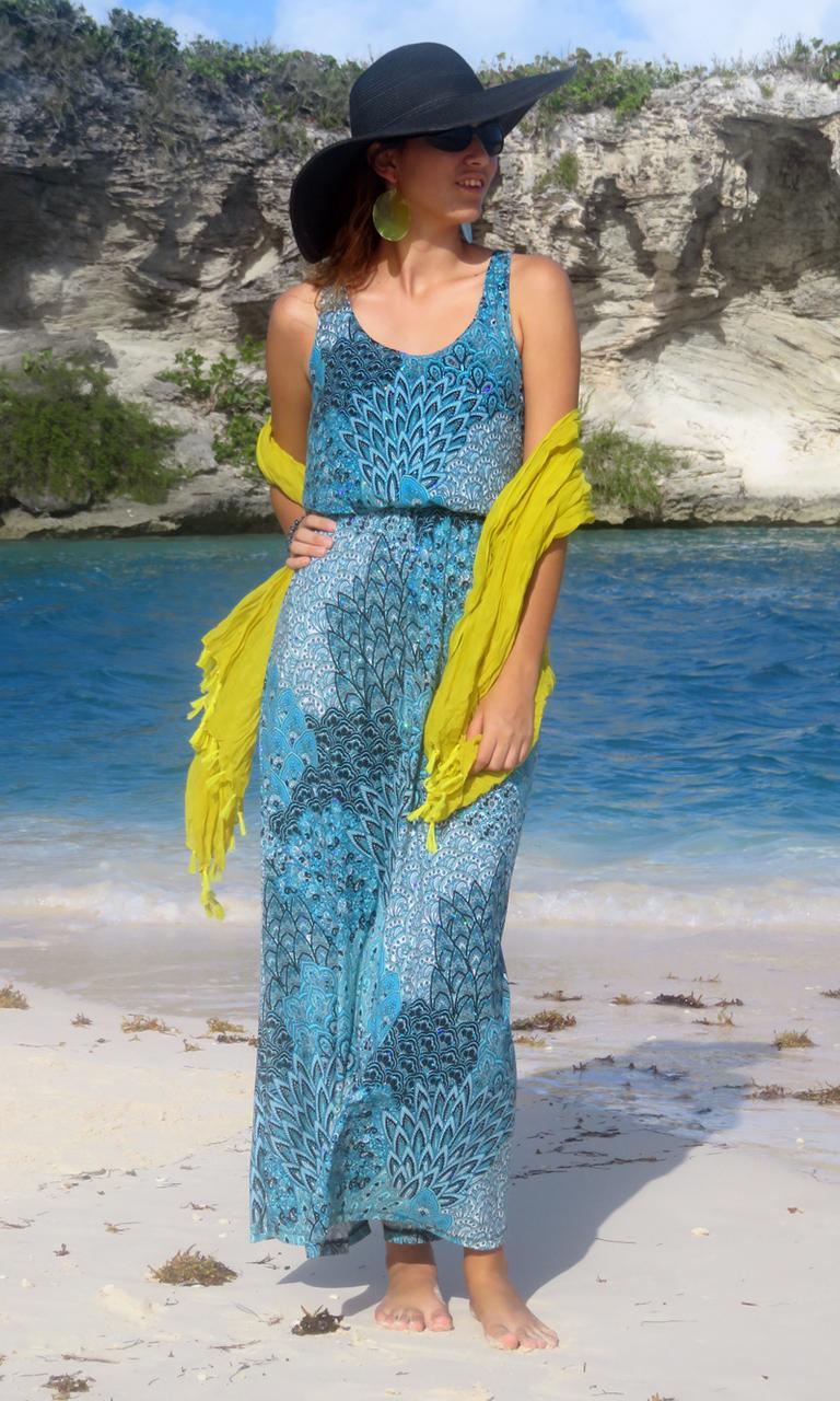 Peacock Sparkle Long Blouson Dress