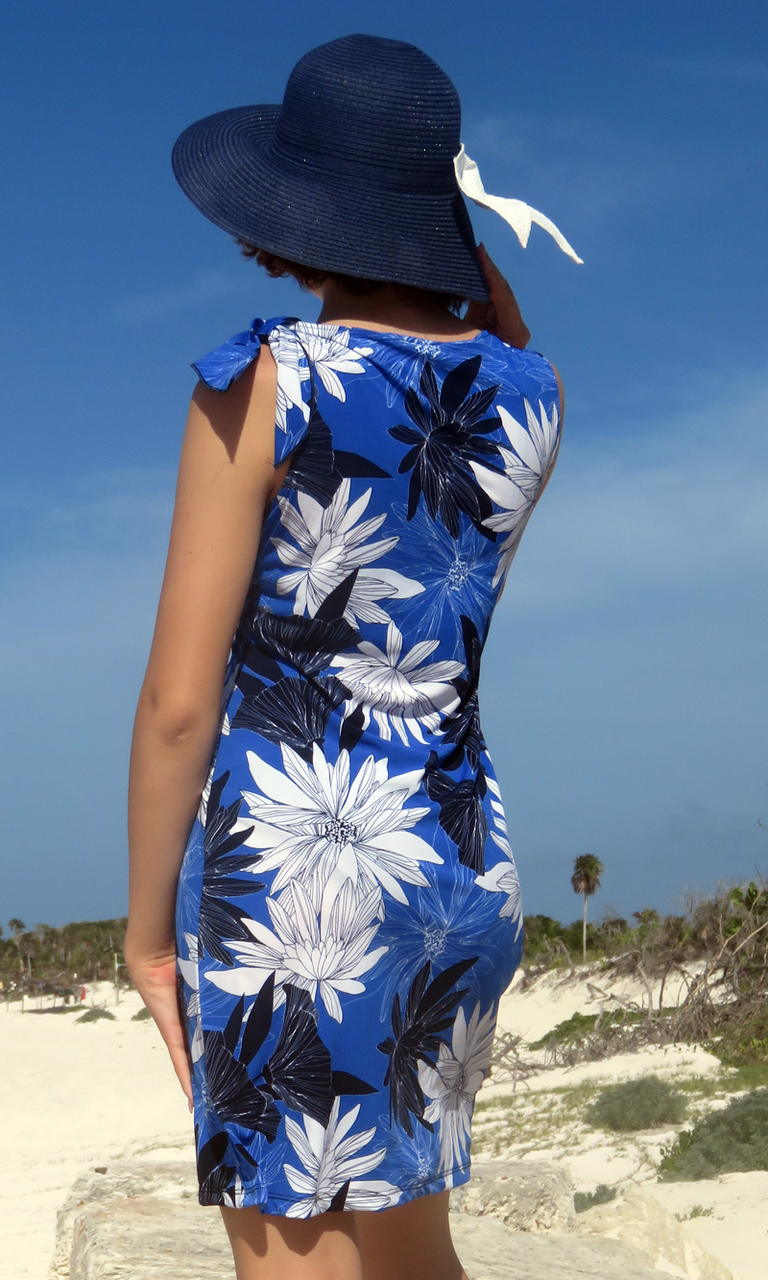 Cobalt & Royal Blooms Bow Dress