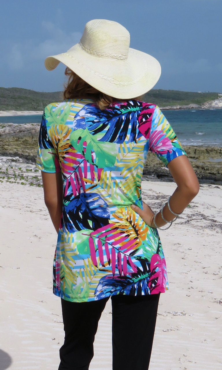 Island Flora Cowl Neck Tunic-ONLY SMALL LEFT