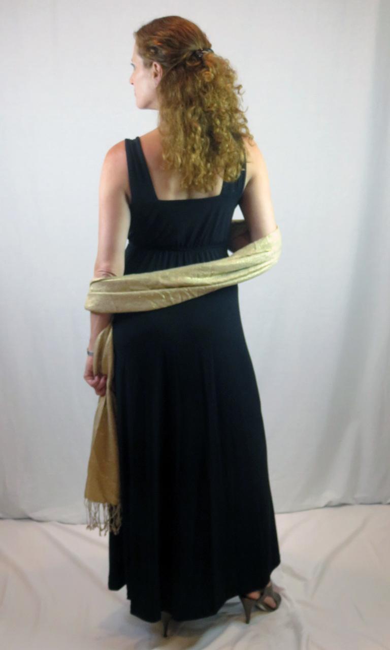 Solid Black Long Wrap Dress