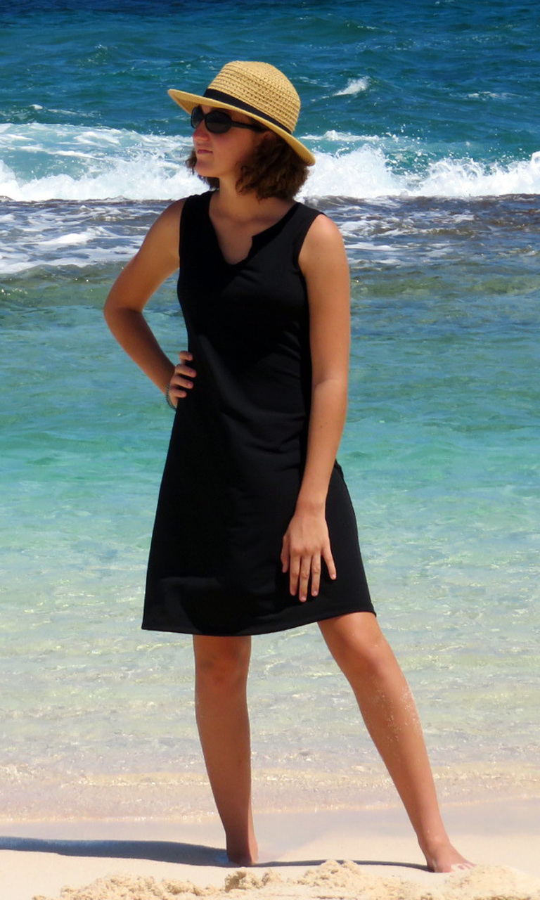 Solid Black Notch Dress