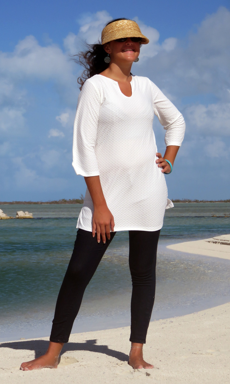 Textured White Notch Tunic