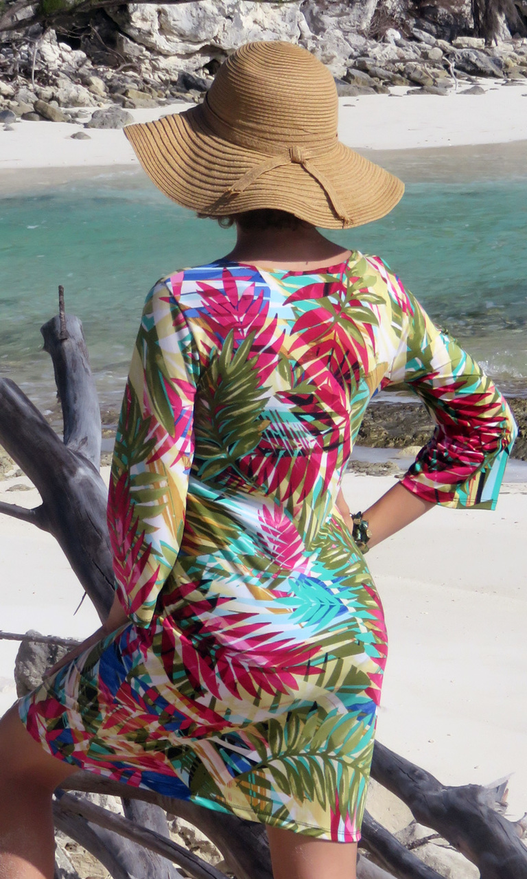 Sunset Palms 3/4 Sleeve Dress