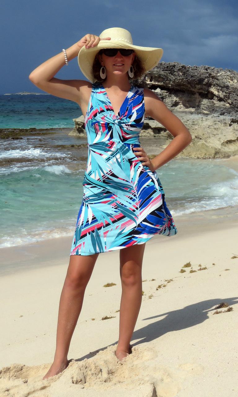 Sea Palms Short Twist Dress